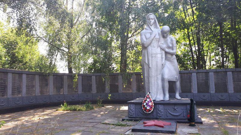 с. Хустянка Бурынского р-на. Памятник, установленный на братской могиле советских воинов и памятный знак погибшим землякам.
