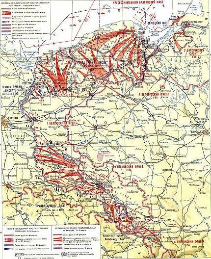 Карта-схема наступления советских войск в Восточной Померании и Силезии.