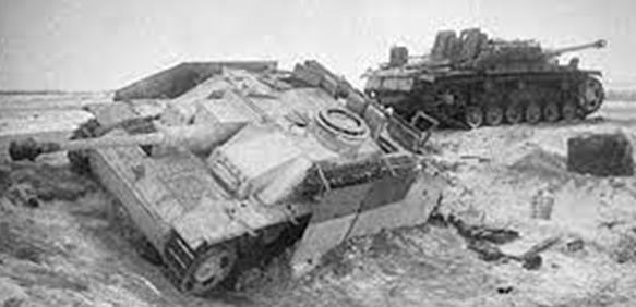 Разбитая немецкая техника им вооружения под Белой Церквой. Январь 1944 г.