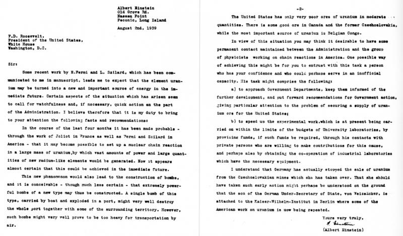 Письмо Эйнштейна Рузвельту.