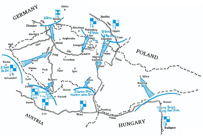 План-схема вторжения в Чехословакию.