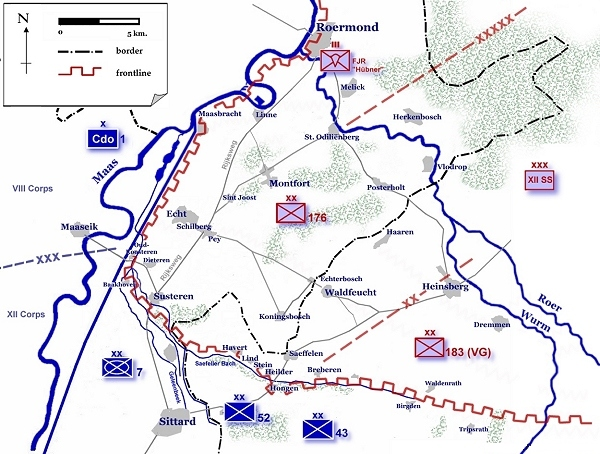Диспозиции немецких войск в Рурмондском треугольнике.