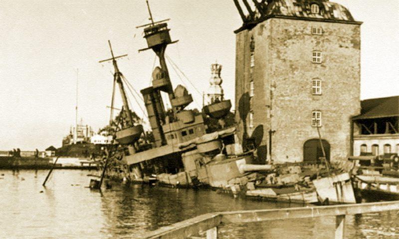 Затопленный броненосец береговой обороны «Педер Скрам».