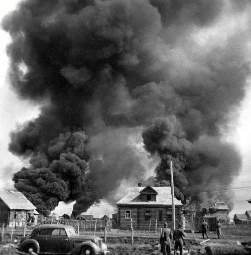 Пожар в городе. 1941 г.