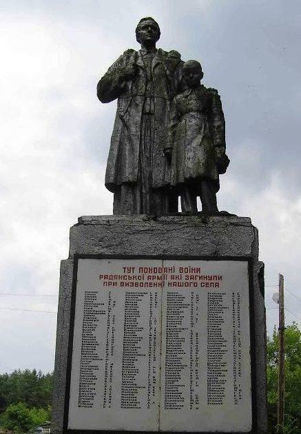 с. Жолдаки Конотопского р-на. Памятник, установленный на братской могиле воинов, погибших в боях за село и памятный знак погибшим односельчанам.