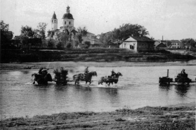 Переправа немцев через Ловать. 1941 г.