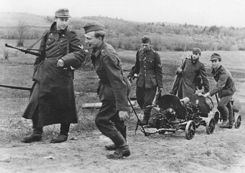 Немецкие солдаты с советским оружием, захваченным южнее города Великие Луки. 1941 г.