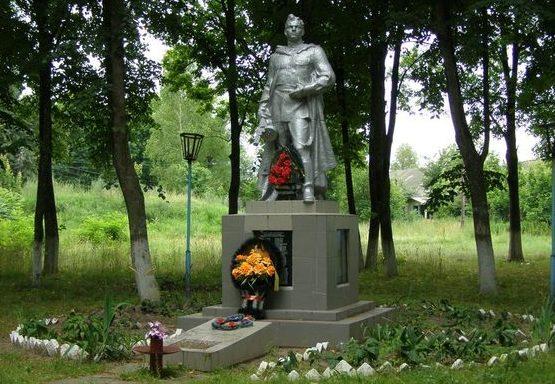 с. Владимировка Городнянского р-на. Памятник, установленный в 1960 году на братской могиле воинов и партизана, погибших при освобождении села и памятный знак односельчанам.