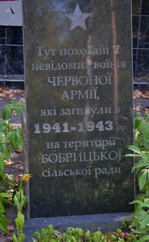 с. Бобрик Роменского р-на. Братская могила 7 неизвестных советских воинов.