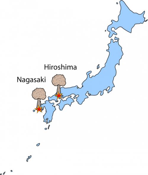 Хиросима и Нагасаки на карте Японии.