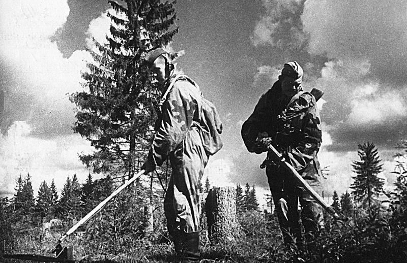 Саперы разминируют местность у Ярцево. Август 1943 г.