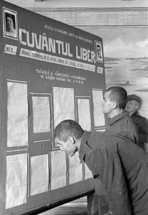 Румынские солдаты, находящиеся в лагере военнопленных, читают стенную газету. 1941 г.