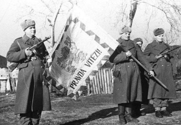 Знамя Первой отдельной чехословацкой бригады, освобождавшей город. Январь 1944 г.