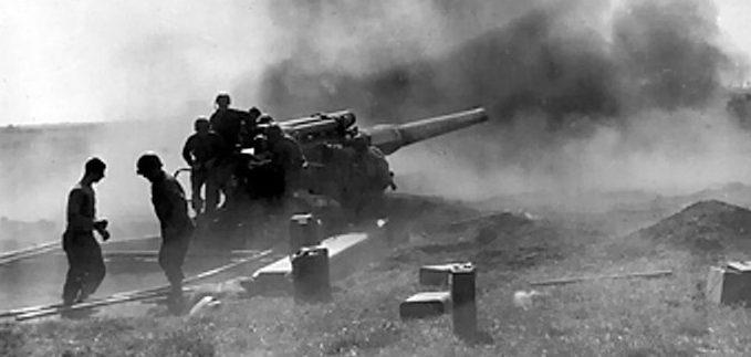 Полевое 8-дюймовая пушка М1. Сентябрь 1944 г.