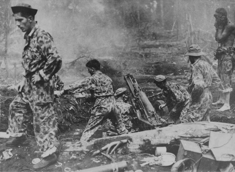 Артиллеристы корпуса морской пехоты ведут огонь по японским войскам на мысе Глостер из 75-мм легкой полевой гаубицы М1. 1944 г.