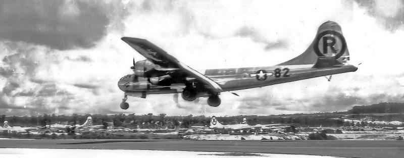 Бомбардировщик В-29 «Enola Gay», сбросивший атомную бомбу на Хиросиму. Август 1045 г.