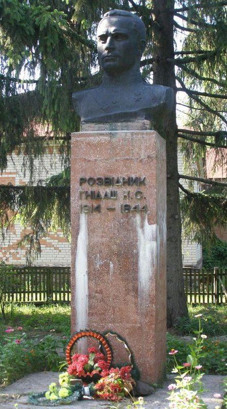 с. Салогубовка Роменского р-на. Бюст уроженца села Героя Советского Союза Гнидаша К.С., установленный возле школы.