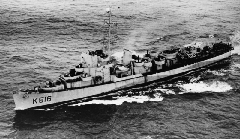 Британский фрегат HMS «Lawson», в плавании Северной Атлантике. Июнь 1944 г.