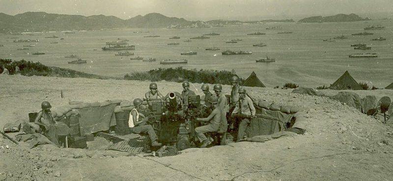 3-дюймовая зенитная установка М3 во время штурма Окинавы. Июнь 1945 г.