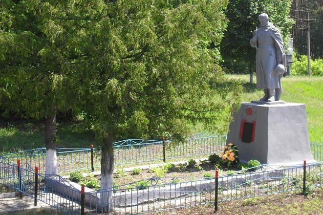 п. Неплюево Ямпольского р-на. Памятник, установленный в 1958 году на братской могиле советских воинов.