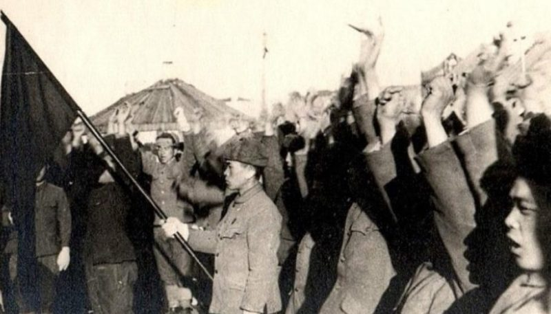 Митинг японских военнопленных. Дальний Восток. 1946 г.