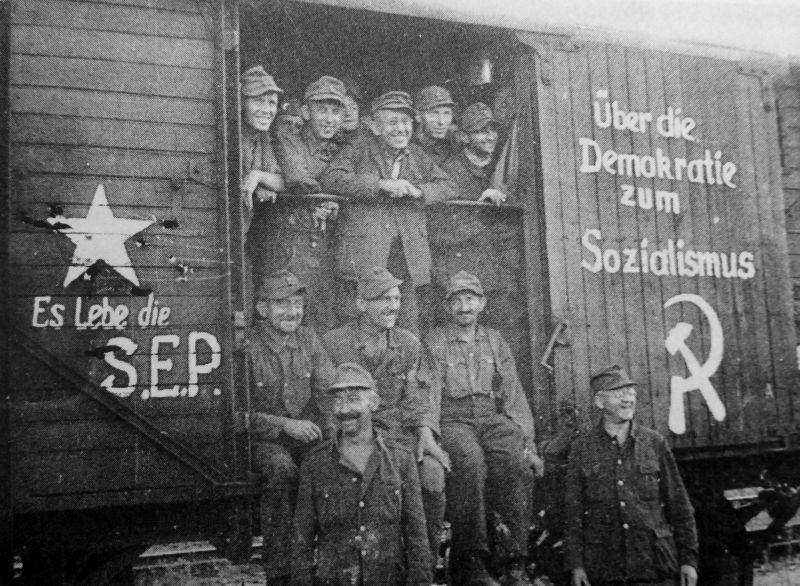 Немецкие военнопленные во время репатриации в Восточную Германию.1949 г.