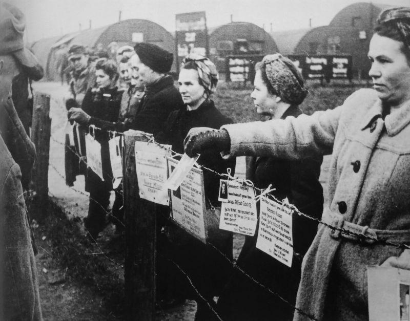 Женщины в приемном лагере Фридланд показывают фотографии мужей и братьев бывшим военнопленным, вернувшимся из СССР. 1955 г.
