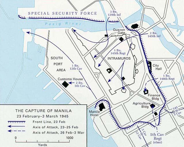 Карта-схема освобождения Манилы.