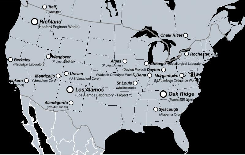 Основные локации Манхэттенского проекта в США и Канаде.
