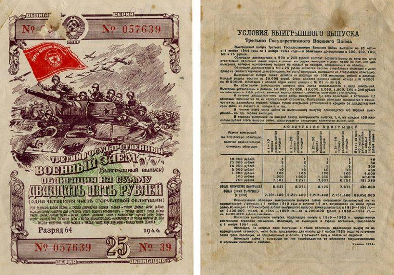 Облигации Госзайма 1944 года.