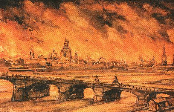 Огненный шторм в Дрездене глазами художника.