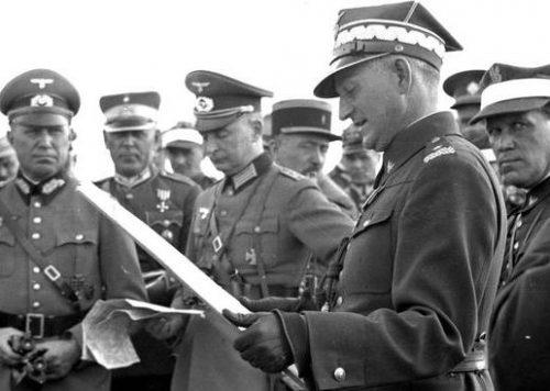 Польские и немецкие военнослужащие на маневрах. 1938 г.