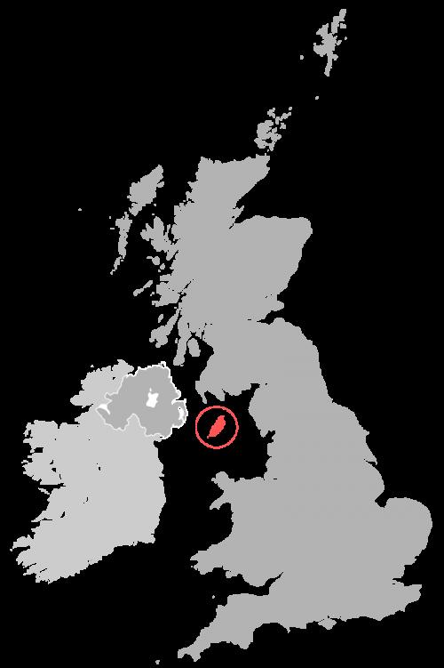 Остров Мэн на карте Великобритании.