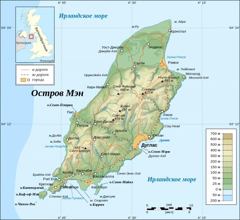 Топографическая карта острова Мэн.