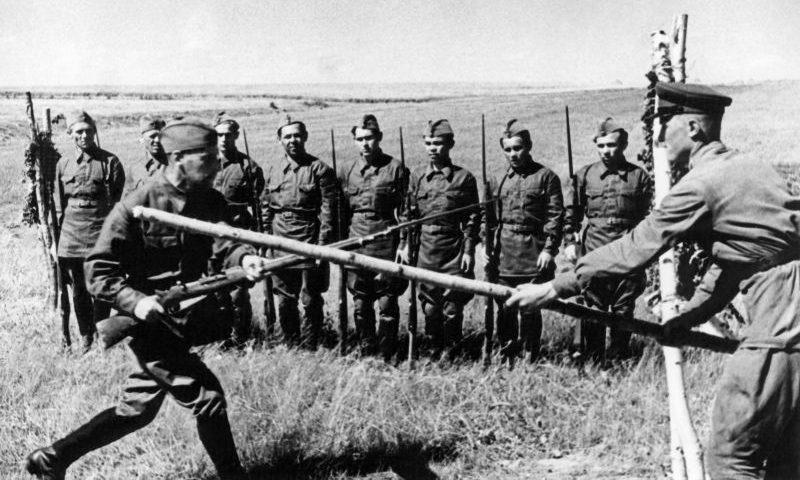 Занятия в 1-й Московской стрелковой дивизии народного ополчения в районе деревни Толстопальцево. Июль 1941 г.