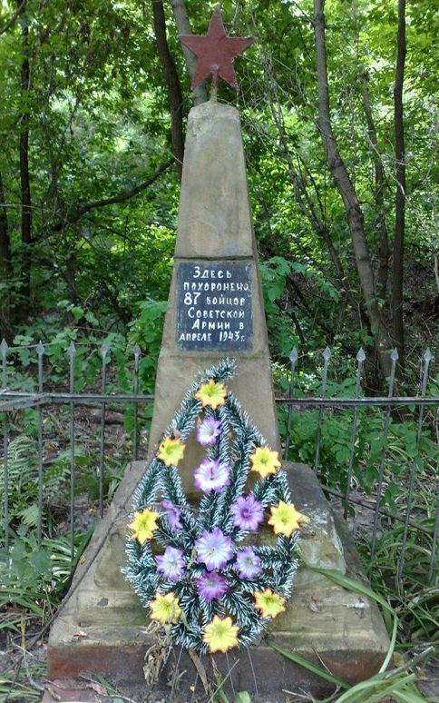 с. Комань Новгород-Северского р-на. Братская могила 87 советских воинов, погибших при освобождении села в 1943 году.