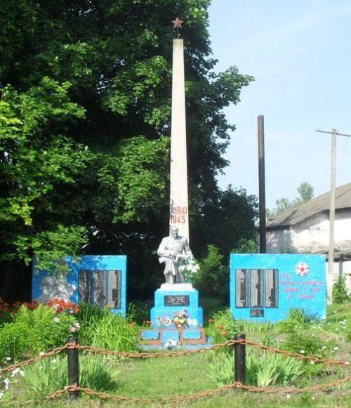 с. Кудлаевка Новгород-Северского р-на. Мемориал, установленный на братской могиле советских воинов и памятный знак погибшим землякам.