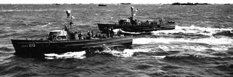 Катера береговой охраны на пути к Нормандии. 6 июня. 1944 г.