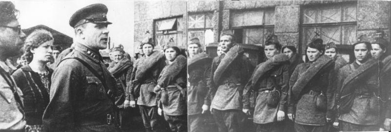 Военком майор Сущев выступает перед медиками 9-й дивизии народного ополчения Москвы. Август 1941 г.