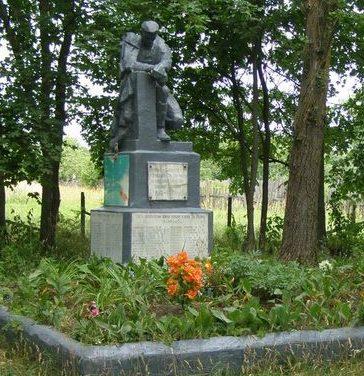п. Добрянка Репкинского р-на. Памятник, установленный в 1965 году на братской могиле, в которой похоронен 141 воин, погибший при освобождении поселка и умерший от ран в полевом госпитале.