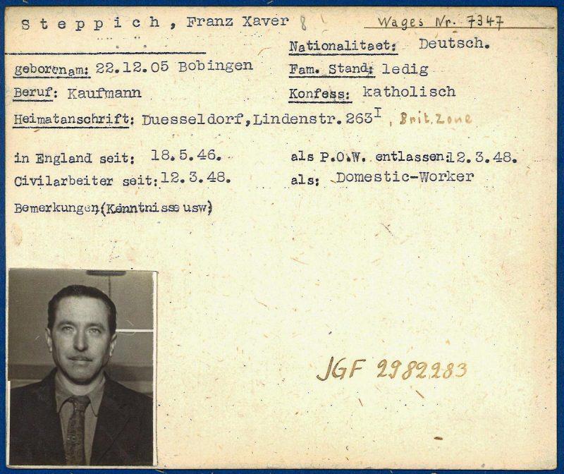 Учетная карточка немецкого военнопленного.