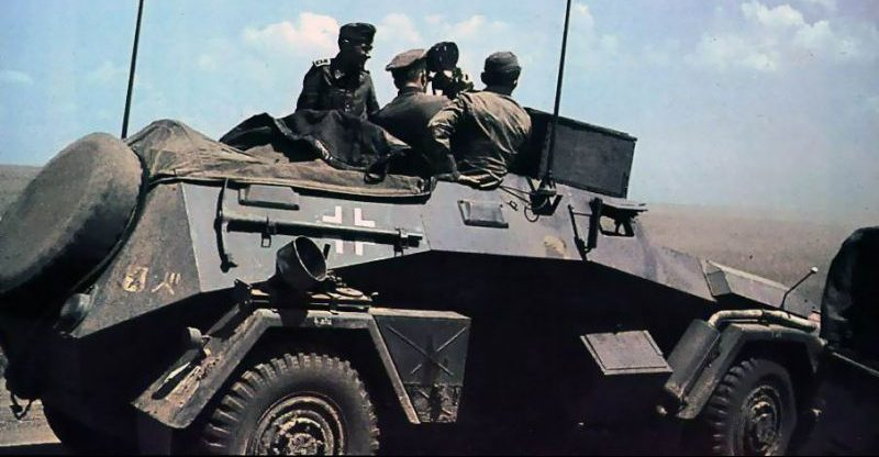 Съемка кинохроники с бронеавтомобиля Sd.Kfz.247 Ausf.B. 1941 г.