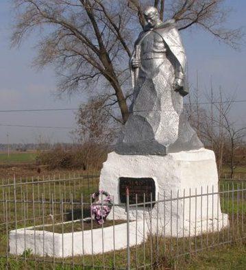 с. Харьково Талалаевского р-на. Памятник, установленный в 1962 году на братской могиле двух воинов, погибших при обороне села.