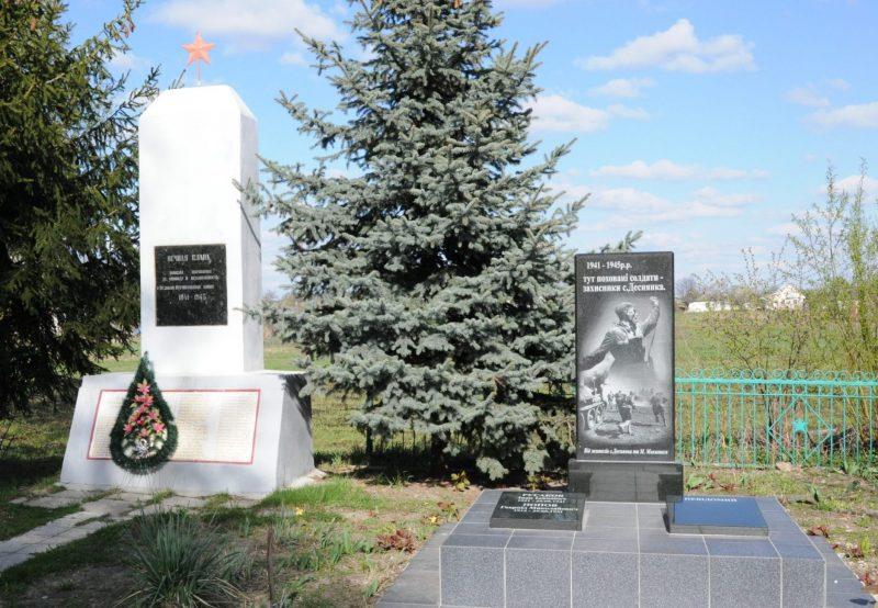 с. Деснянка Черниговского р-на. Братская могила 5 воинов и памятник односельчанам.