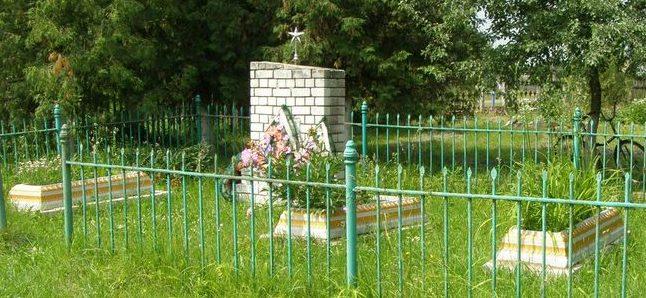 с. Малиновка Черниговского р-на. Братская могила на территории школы, которой похоронено 32 советских воина, погибших в боях за село.