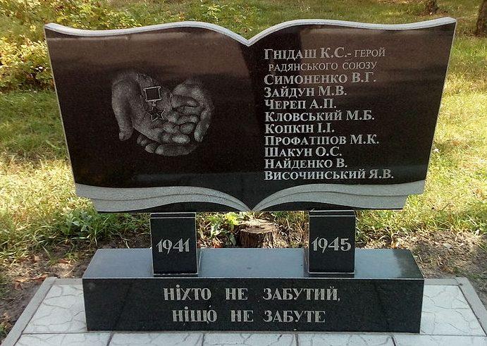 г. Прилуки. Памятный знак работникам и выпускникам Прилуцкого СПТУ №12, погибших в годы войны.
