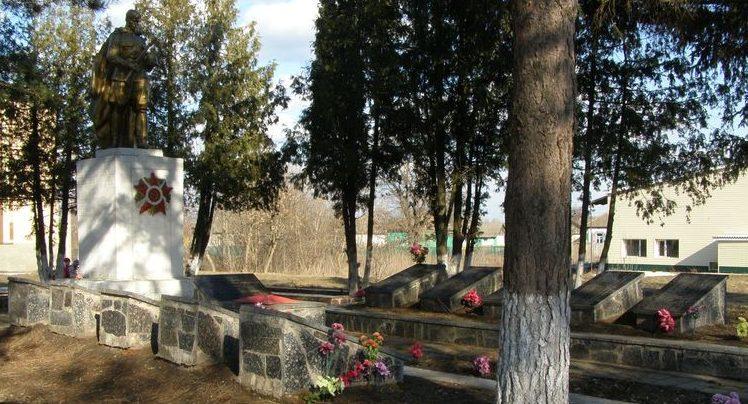 с. Толкачовка Прилуцкого р-на. Братская могила 32 воинов, погибших при освобождении села и памятный знак погибшим односельчанам.