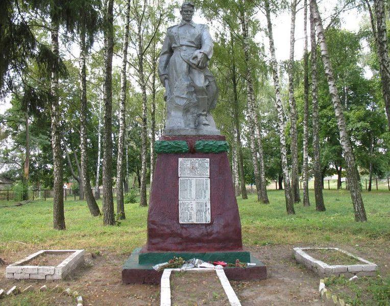 с. Новые Боровичи Сновского р-на. Памятник, установленный на братской могиле советских воинов и памятный знак погибшим землякам.