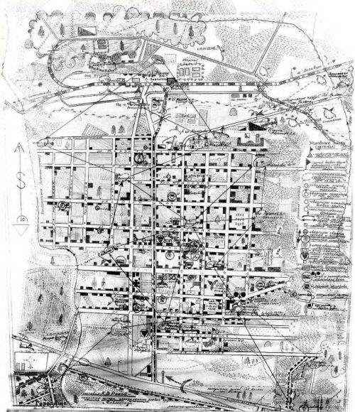 Схема боя в период вооруженного восстания в Павлограде 13-16 февраля 1943 г.