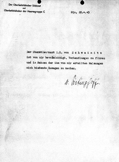 Доверенность Швайницу на подписание капитуляции.